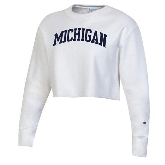 Champion University of Michigan Women's White Reverse Weave Cropped Crewneck Sweatshirt