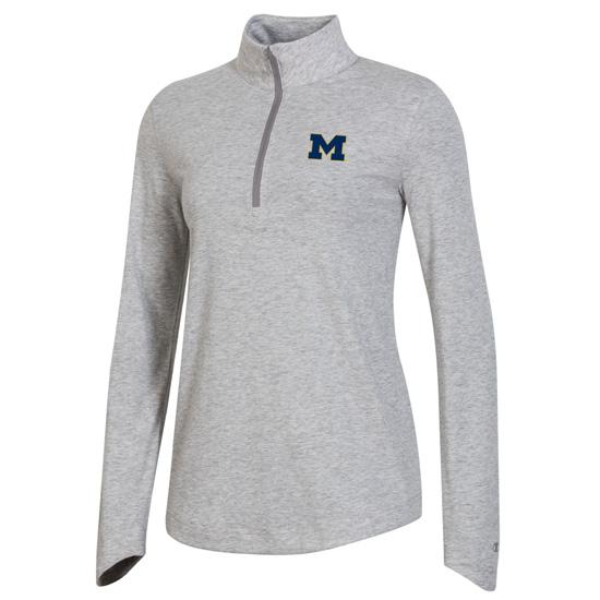 Champion University of Michigan Women's Gray Field Day 1/2 Zip Pullover