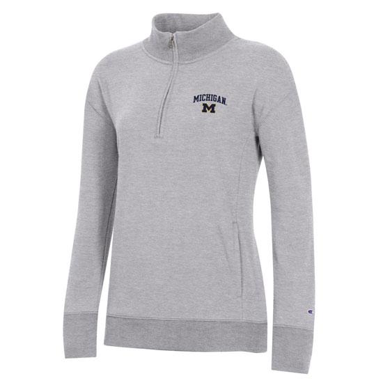 Champion University of Michigan Women's Gray University 2.0 1/4 Zip Pullover Sweatshirt