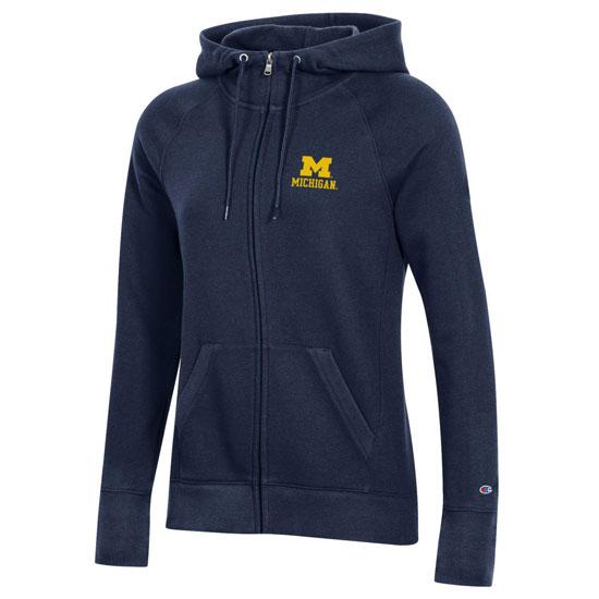 Champion University of Michigan Women's Navy University 2.0 Full-Zip Hooded Sweatshirt