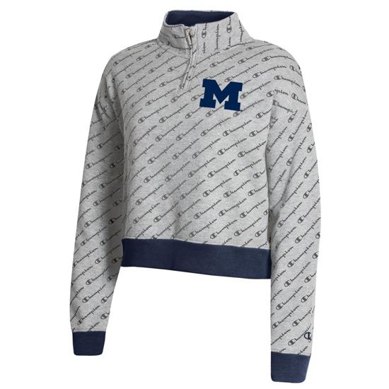 Champion University of Michigan Women's Gray Co-Brand Superfan Cropped 1/4 Zip Pullover