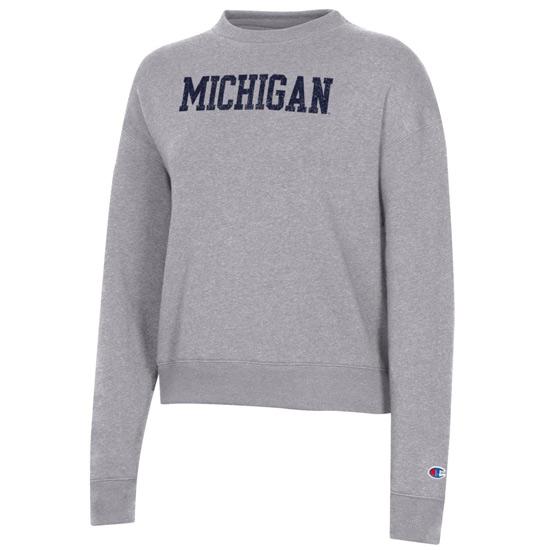 Champion University of Michigan Women's Gray Triumph Triblend Crewneck Sweatshirt
