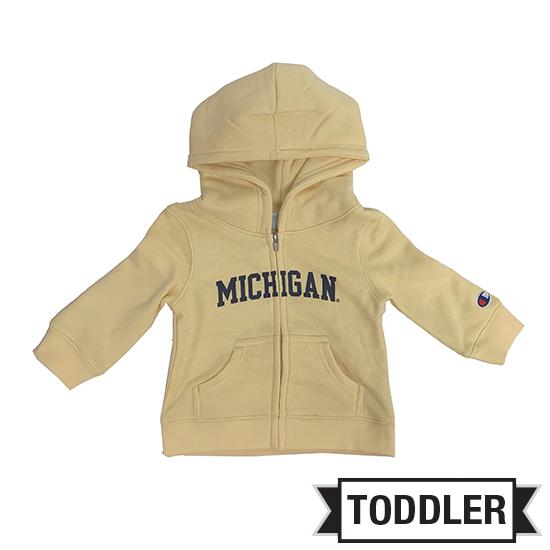 Champion University of Michigan Toddler Butter Yellow Full Zip Hooded Sweatshirt