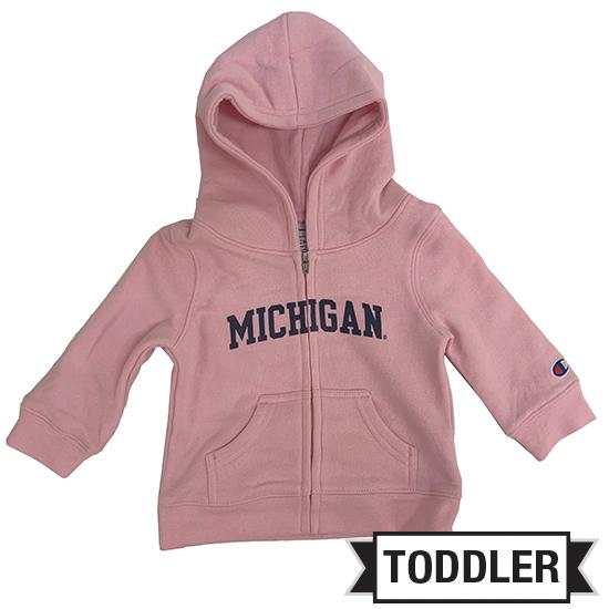 Champion University of Michigan Toddler Pink Full Zip Hooded Sweatshirt