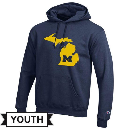 Champion University of Michigan Youth Navy State of Michigan Hooded Sweatshirt