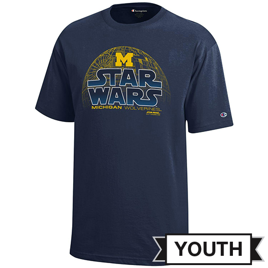 Champion University of Michigan Star Wars Youth Navy Death Star Tee