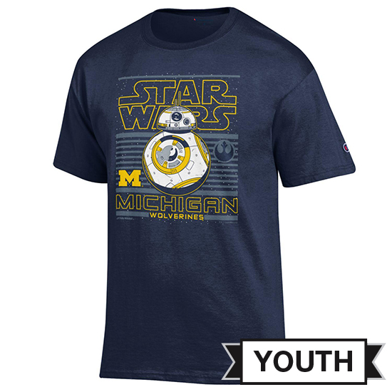 Champion University of Michigan Star Wars Youth Navy BB-8 Tee