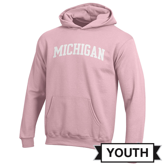 Champion University of Michigan Youth Pink Hooded Sweatshirt