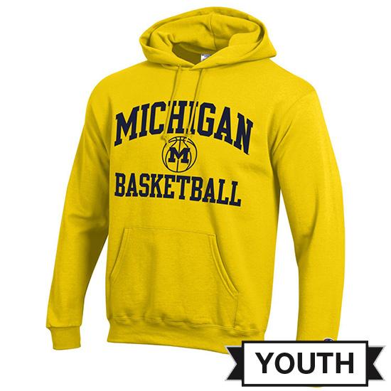 Champion University of Michigan Basketball Youth Yellow Powerblend Hooded Sweatshirt