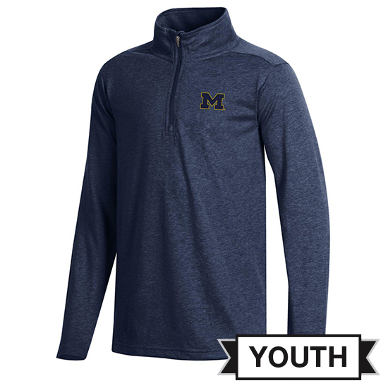 Champion University of Michigan Youth Heather Navy Field Day 1/4 Zip Pullover