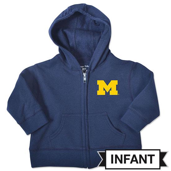 College Kids University of Michigan Infant Navy Full Zip Hooded Sweatshirt