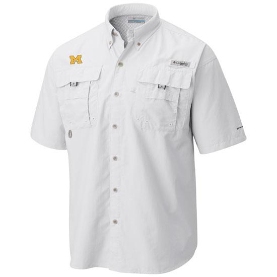 Columbia University of Michigan White Bahama Fishing Shirt