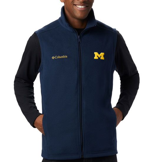 Columbia University of Michigan Navy Full Zip Flanker Fleece Vest