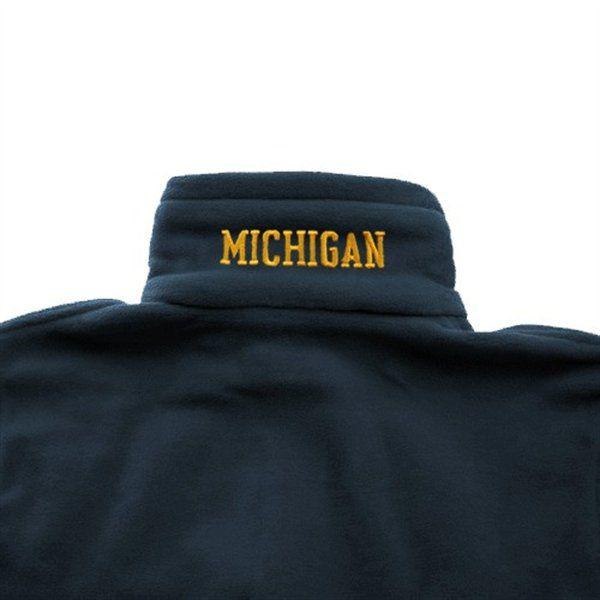 Columbia University of Michigan Navy Full Zip Flanker Fleece Jacket