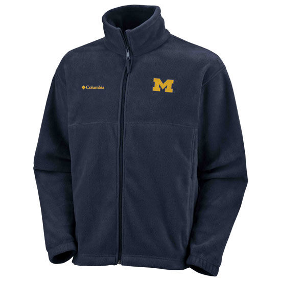 Columbia University of Michigan Navy Full Zip Flanker Fleece Jacket