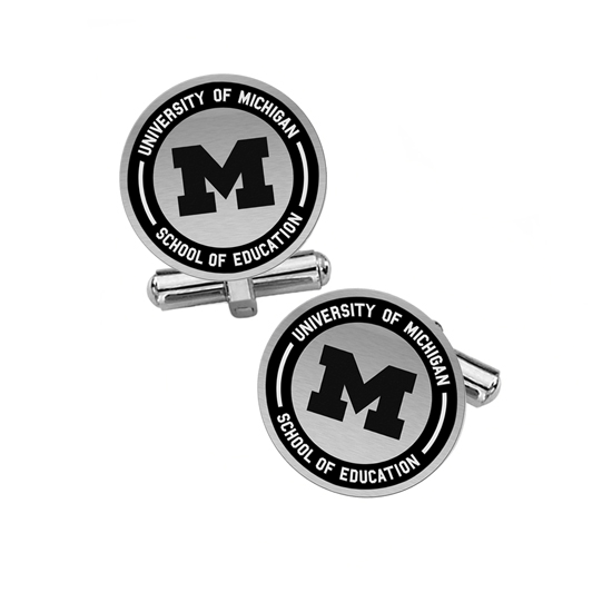 Collegiate Bead Co. University of Michigan School of Education Silver Cufflinks