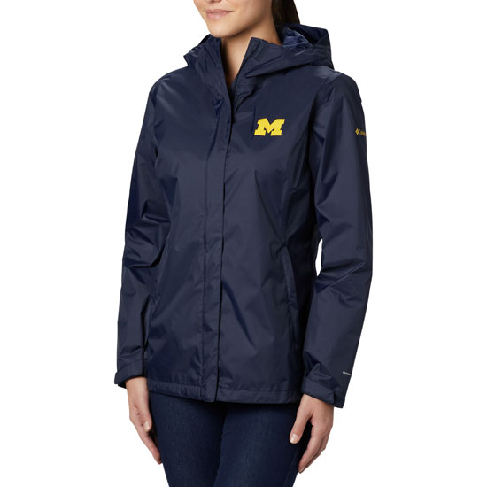 Columbia University of Michigan Women's Navy Arcadia II Rain Jacket