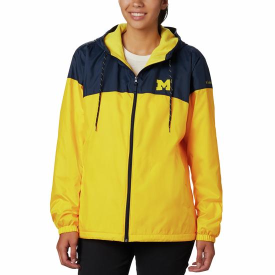 Columbia University of Michigan Women's Navy/Yellow Flash Forward Lined Windbreaker Jacket