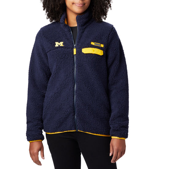 Columbia University of Michigan Women's Navy Mountain Side Heavyweight Sherpa Fleece Full-Zip Jacket