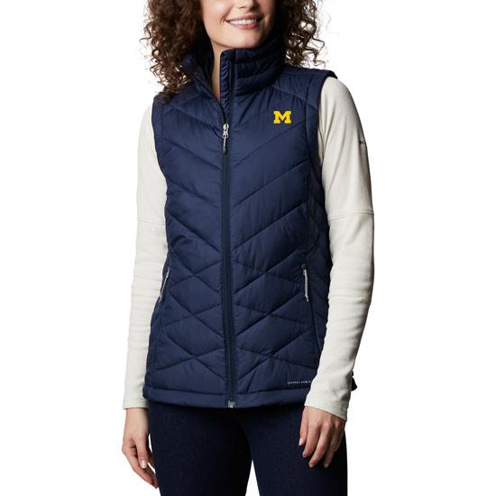 Columbia University of Michigan Women's Navy Heavenly Full-Zip Vest