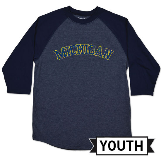 College Kids University of Michigan Youth Navy Home Run Raglan Tee