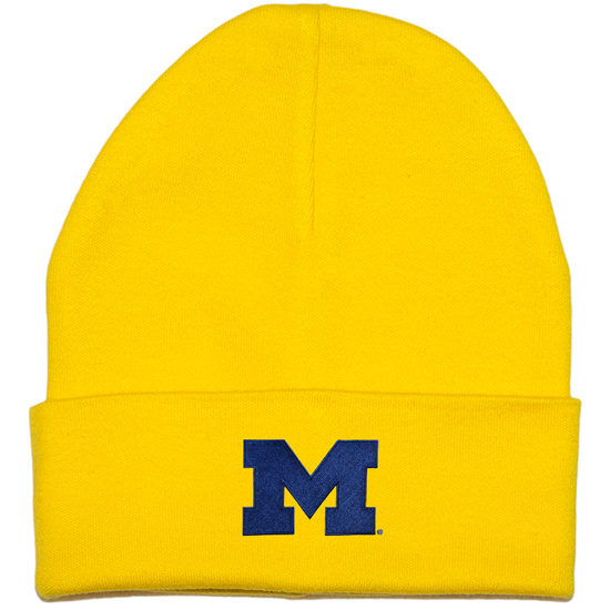 Creative Knitwear University of Michigan Newborn Infant Yellow Cuffed Knit Hat