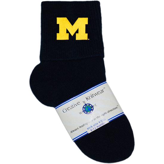 Creative Knitwear University of Michigan Newborn Infant Anklet Sock