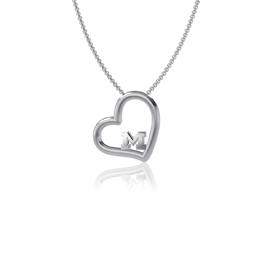 Dayna Designs University of Michigan Sterling Silver Heart Pendant Necklace