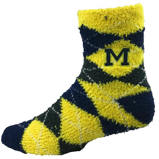 Donegal Bay University of Michigan Navy Argyle Fuzzy 1/4 Crew Socks