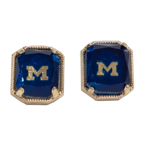 Emerson Street University of Michigan Etched Stone Stud Earrings