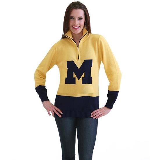 Emerson Street University of Michigan Women's Yellow/ Navy 1/4 Zip Logo Pullover Sweater
