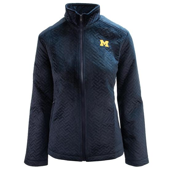 Emerson Street Clothing Co. University of Michigan Women's Navy Velvet Full Zip Jacket