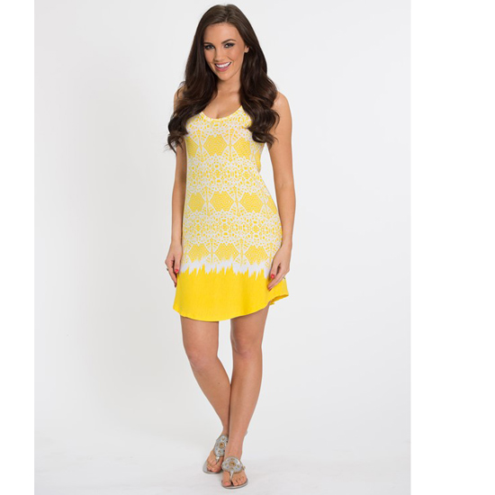 Flying Colors Women's Yellow Scooped Neck Racerback Tank Dress