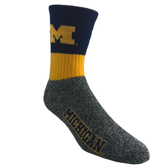 FBF University of Michigan Tri-Level Design Crew Socks