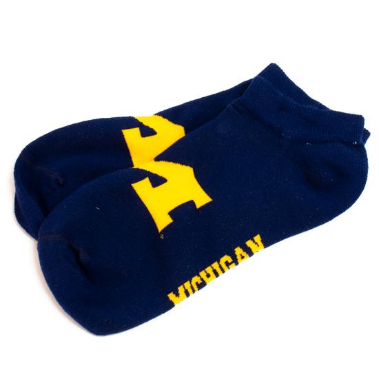 FBF University of Michigan Navy Big Logo Low-Cut Ankle Socks