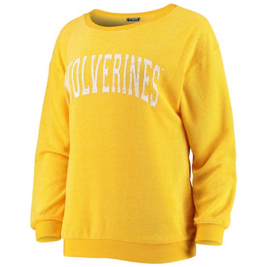 Game Day Couture University of Michigan Women's Heather Yellow ''It's A Date'' Crewneck Sweatshirt