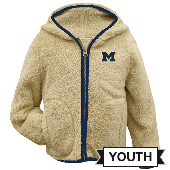 Garb University of Michigan Youth Sherpa Full Zip Hooded Jacket