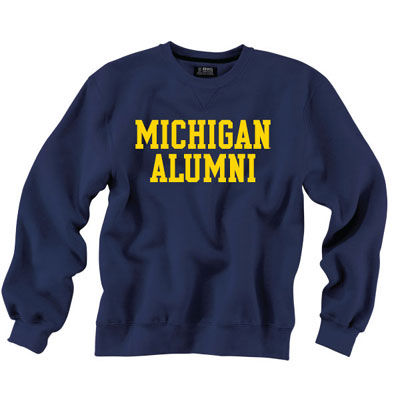 Gear University of Michigan Alumni Navy Tackle Twill Crewneck Sweatshirt