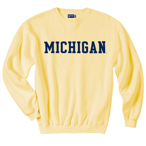 Gear University of Michigan Butter Yellow Basic Crewneck Sweatshirt