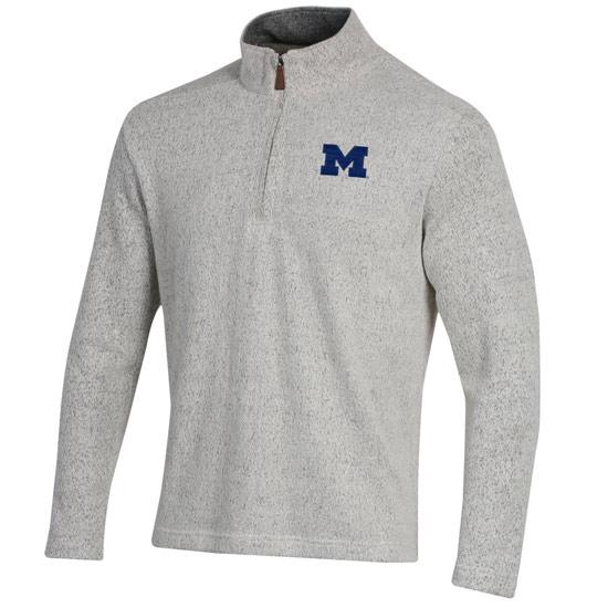 Gear University of Michigan Salt & Pepper 1/2 Zip Bomber Sweater