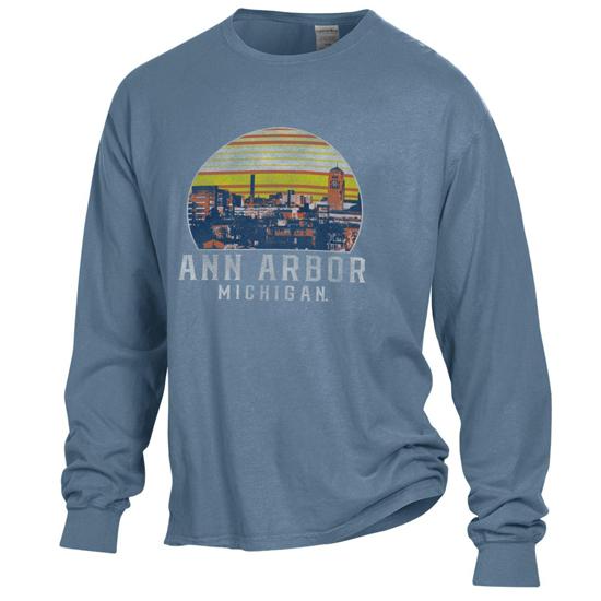Gear Comfort Wash University of Michigan ''Ann Arbor'' Saltwater Long Sleeve Tee