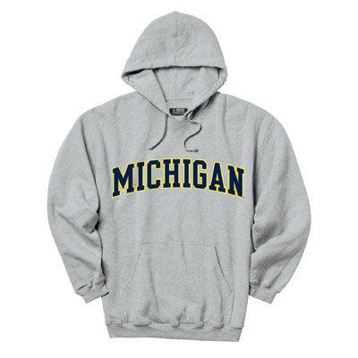 Gear University of Michigan Oxford Gray Tackle Twill Hooded Sweatshirt