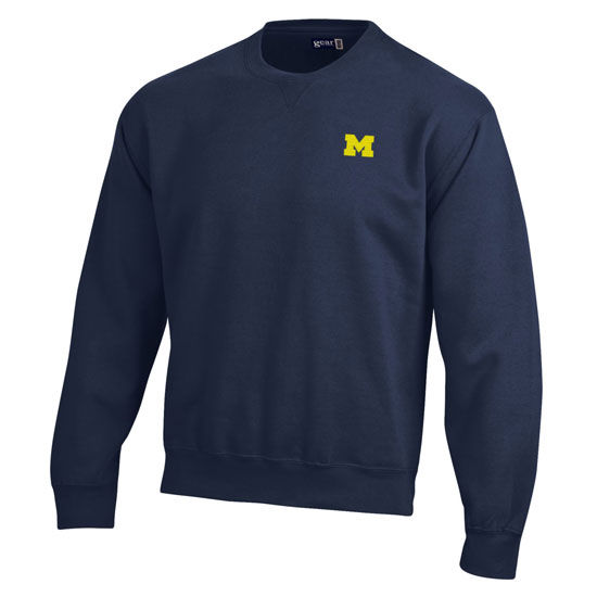 Gear University of Michigan Navy Left Chest Block M Crewneck Sweatshirt
