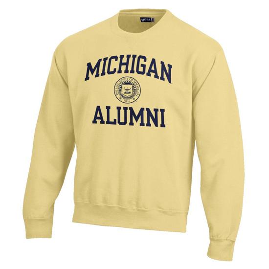 Gear University of Michigan Alumni Butter Yellow Crewneck Sweatshirt