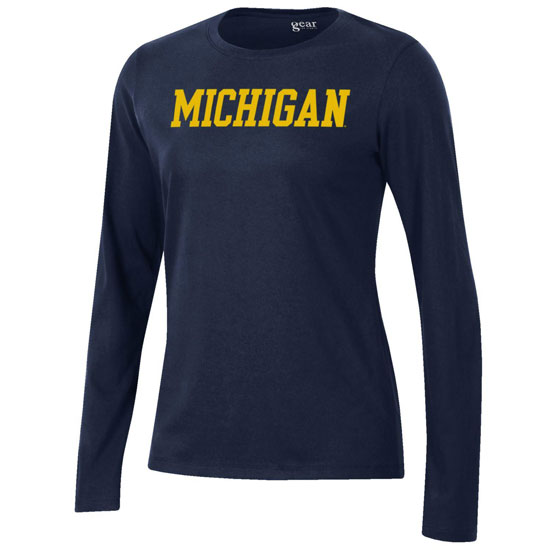 Gear University of Michigan Women's Navy Long Sleeve Relaxed Tee
