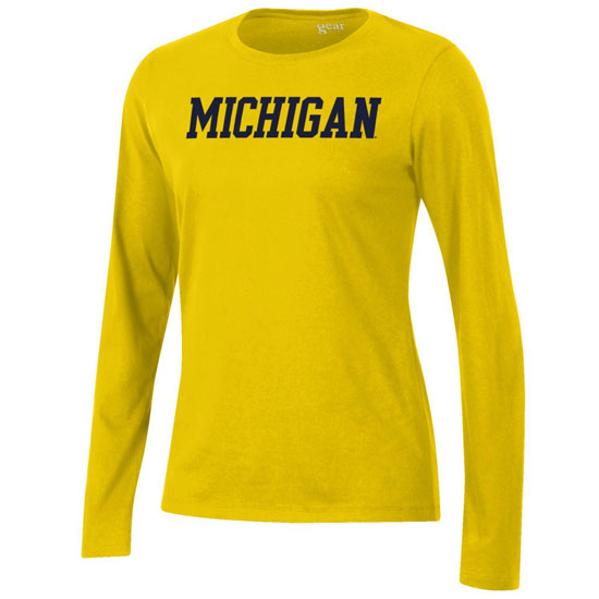 Gear University of Michigan Women's Yellow Long Sleeve Relaxed Tee
