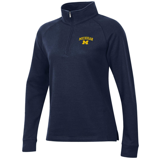 Gear University of Michigan Women's Navy Relaxed 1/4 Zip Pullover Sweatshirt