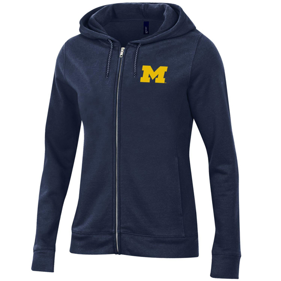 Gear University of Michigan Women's Navy Relaxed Full Zip Hooded Sweatshirt