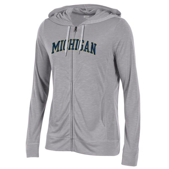 Gear University of Michigan Women's Heather Gray Slub Full-Zip Hooded Tee