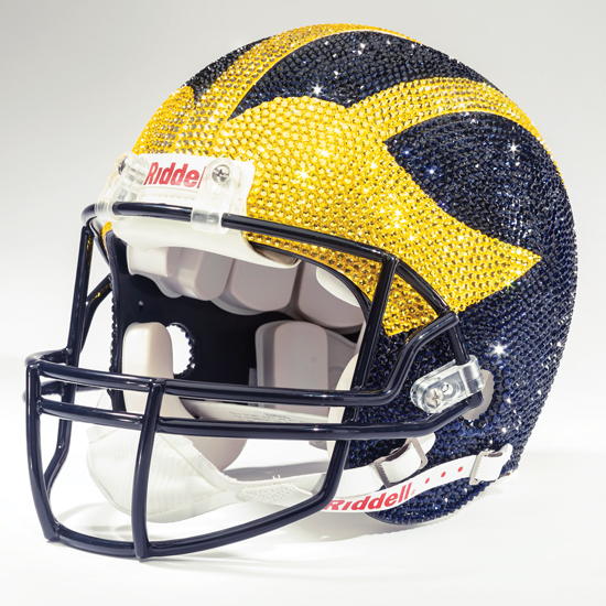 new style 7c350 12eca University of Michigan Football Swarovski Crystal Full Size Replica  Football Helmet